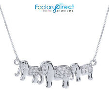14k White Gold CZ Studded Three Elephant Pendant Necklace