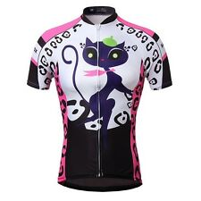 Women's Cat girl Cycling Bike Short Sleeve Top Shirt Clothing Bicycle Jersey