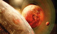 Planetary Ring Red Planets Firecanes 3D Full Wall Mural Photo Wallpaper Home Kid