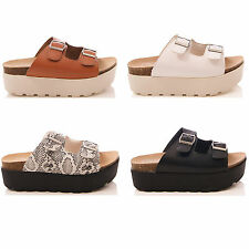 LADIES WOMENS TRUFFLE MULE SANDALS WEDGE SLIP ON PLATFORM SUMMER SHOES SIZE