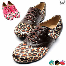 Womens Flower Floral Oxfords Lace Up Dress Loafers Flats Casual Canvas Shoes