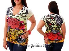 T139 RHINESTONE RED ROSE SUBLIMATION T- SHIRT WOMENS S M L