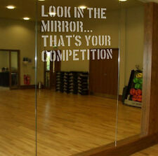LOOK IN THE MIRROR Etch Effect Decal for Mirrors/Glass Home Gym Office Motivate