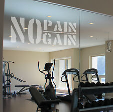NO PAIN NO GAIN Etch Effect Decal for Mirrors/Glass Home Gym Office Motivate TRX
