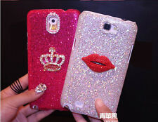 Crown Sexy Lips Bling Diamonds Glitter Case Cover For Samsung Galaxy S4 Mini SZS