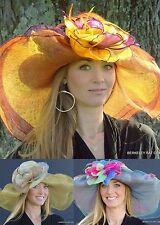 NEW Ladies Kentucky Derby Hat Sinamay Straw Dynamic Multicolored Organza Flower