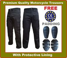 Mens Motorbike Motorcycle Cargo Trousers Denim Jeans with Protective Lining