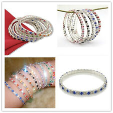 women Tennis Silver Rhinestone Crystal Wedding Bridal Bangle Stretch Bracelet