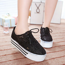 Sexy Girls Lace Up Lace Platform Sneakers Mesh Round Toe Casual Platform Shoes
