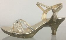 Jan Prom Wedding Open Toe Glitter Strappy Rhinestone Kitten Low Heel Sandal Shoe