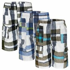 BOYS CHECKED MULTIPOCKET SHORTS KIDS LIGHTWEIGHT CARGO COMBAT SUMMER 3-14 YEARS