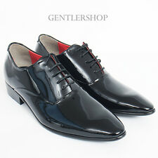 Mens Shoes Pointed Toe Black Patent Leather Oxfords HANDMADE 5003, GENTLERSHOP