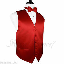 Red Solid Vest Waistcoat and Butterfly Bow Tie Suit or Tuxedo Wedding Party 10-F