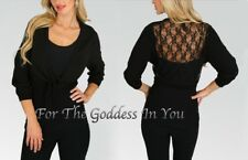 J14 BLACK LACY BACK CROPPED KNITTED CARDIGAN SHRUG WOMENS PLUS SIZE XL 1X 2X 3X