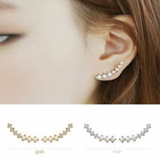 2 pieces Women Ear Hook Plated Crystal Rhinestone Stud Ear Clip pearl Earrings