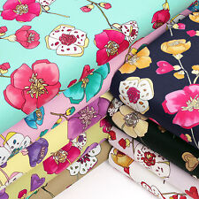 VINTAGE RETRO FLOWER 100% Cotton Fabric Dress Quilting Craft VK62 by Fat Quarter