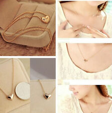 New  women Gold Plated Heart Bib Statement Chain Jewelry Pendant Necklace