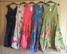 Ladies Lagenlook Linen Rib Stretch Floral Italian Sleeveless Summer Dress 12-16