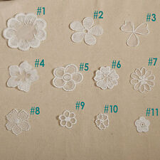 30pcs White Cotton Applique ,Wedding Lace Applique, Rose Flower Lace Appliques
