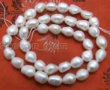 "SALE Big 7-9mm Natural White BAROQUE Freshwater Pearl Loose Beads strand 14""-523"