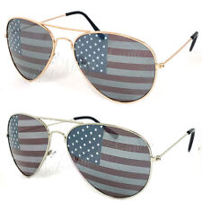 2 Pairs American USA Flag Aviator Sunglasses FREE Pouches Pick your color!