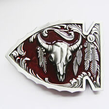 Men Buckle Arrowhead Bull Wildlife Belt Buckle Gurtelschnalle Boucle de ceinture