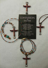 Horseshoe Nail Cross Jewelry-Cross is COPPER W/BURGUNDY-1 OR 3 TYPES-$$REDUCED$$