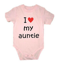 PERSONALISED I LOVE MY AUNTIE AUNT AUNTY UNCLE BABY GROW VEST CREEPER BIRTHDAY