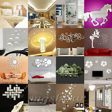 DIY Silver Modern Mirror Wall Sticker Rectangle&Butterfly Decal Home Decorations