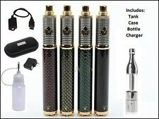 Carbon Fiber Variable Voltage Vaporizer Kit Vape Pen 1600mah Battery w Mini Tank
