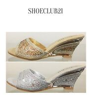 DODO16-11 Rhinestone Glitter Prom Wedding Slides Mules Slip On Kitten Wedge Shoe