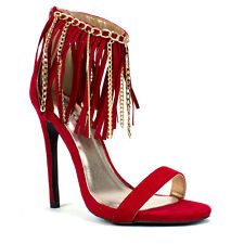 Womens Red Chandelier Fringe w/ Chain Faux Suede Sandal Heel Qupid Glee-78