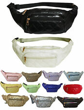 WOMENS HOLIDAY QUILTED FAUX LEATHER FANNY PACK FESTIVAL TRAVEL BUM BAGS GRUNGE