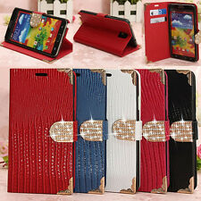 Bling Diamond Crocodile Card Wallet Leather Flip Cover Case Stand For Samsung
