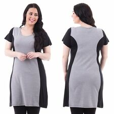 BRAND NEW IVANS BLACK & GREY LONG PANELLED TUNIC TOP/ DRESS IN UK SIZES 16 TO 32