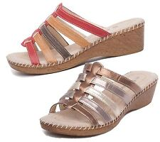 WOMEN'S LADIES SLIP ON LOW MID WEDGE HEEL MULES PARTY SUMMER SANDALS FANCYSHOES