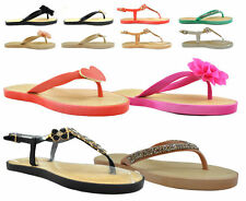 Ladies Womens Flat Slip On Sandals Open Toe Post Jelly Flip Flops Slippers Size
