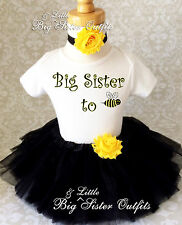 Big Sister To BEE Be Black Yellow Tutu Skirt Set Outfit Shirt birth announcement