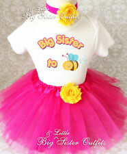 Big Sister To BEE Be Pink Yellow Tutu Skirt Set Outfit Shirt birth announcement