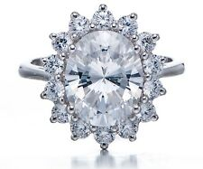 Lady Diana's Ring in Cubic Zirconia CZ Solid 925 Sterling Silver Womens Jewelry