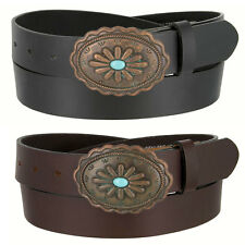 "Western Genuine Leather Belt with Turquoise Inlay Flower Buckle 1-3/8"" Wide"