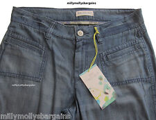 New Marks and Spencer Blue Tencel Cotton Trousers Size 18 16 14 12 Medium Short