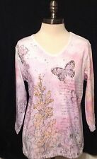 New Cactus Bay Apparel Watercolor Butterfly 3/4slve V-Neck Embellished Tee M-XXL