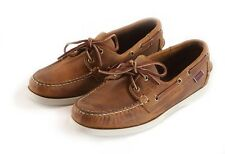Men's Sebago Docksides Boat Shoe Distressed Tan Brown with White Sole 72652