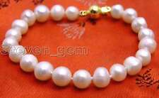 "SALE High luster 8-9mm natural White freshwater Pearl 7.5"" bracelet -bra233_8"