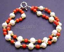 "6-7mm natural White freshwater Pearl &4mm red coral 2 strands 7.5"" bracelet-275"