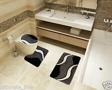 Bath Mat Toilet Rug Set 2 & 3 piece Non Slip Bathroom Washable Rubber  BLACK