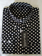 Mens Relco Polka Dot Spotted Shirt Black White Sizes M to 3XL Button Down Collar