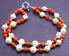 "SALE 6-7mm white  Pearl & 6mm Red Round natural Coral 2 strand 7.5"" bracelet-275"