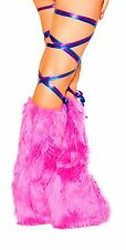 Sexy Womens Metallic Neon Leopard Stretch Thigh Leg Wraps Rave Dance Accessories